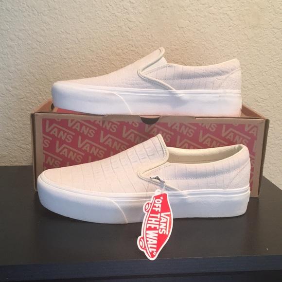 Vans embossed Suede Platform ivory slip on shoes Boutique